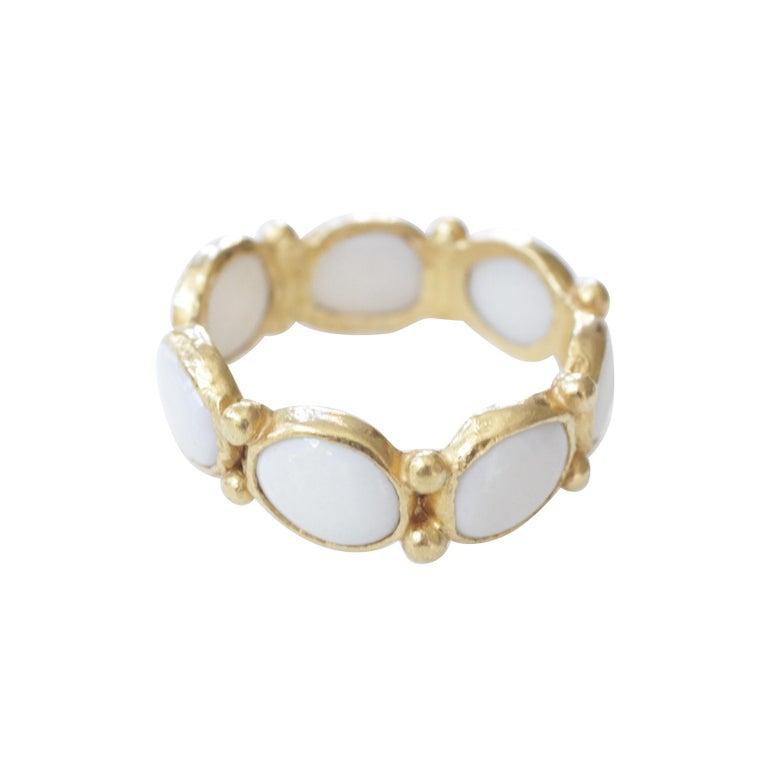 White Opal 22 Karat-21 Karat Gold Bezel Band Fashion Ring One-Of-A-Kind  For Sale