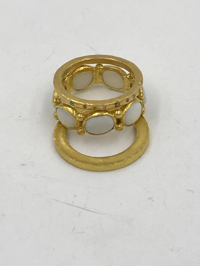 Oval Cut White Opal 22 Karat-21 Karat Gold Bezel Band Fashion Ring One-Of-A-Kind  For Sale