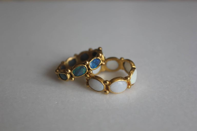 White Opal 22 Karat-21 Karat Gold Bezel Band Fashion Ring One-Of-A-Kind  In New Condition For Sale In New York, NY