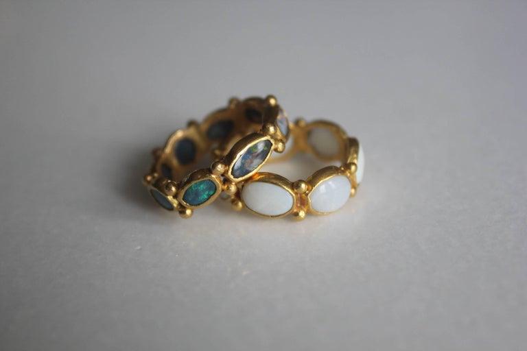 Women's or Men's White Opal 22 Karat-21 Karat Gold Bezel Band Fashion Ring One-Of-A-Kind  For Sale