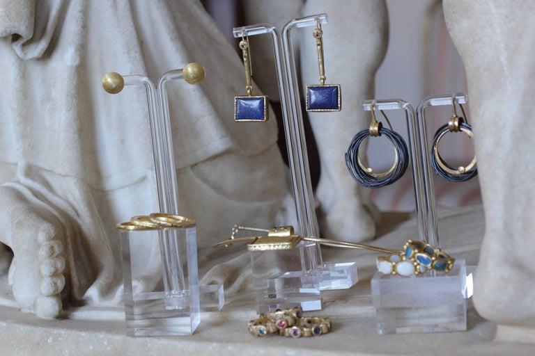White Opal 22 Karat-21 Karat Gold Bezel Band Fashion Ring One-Of-A-Kind  For Sale 9