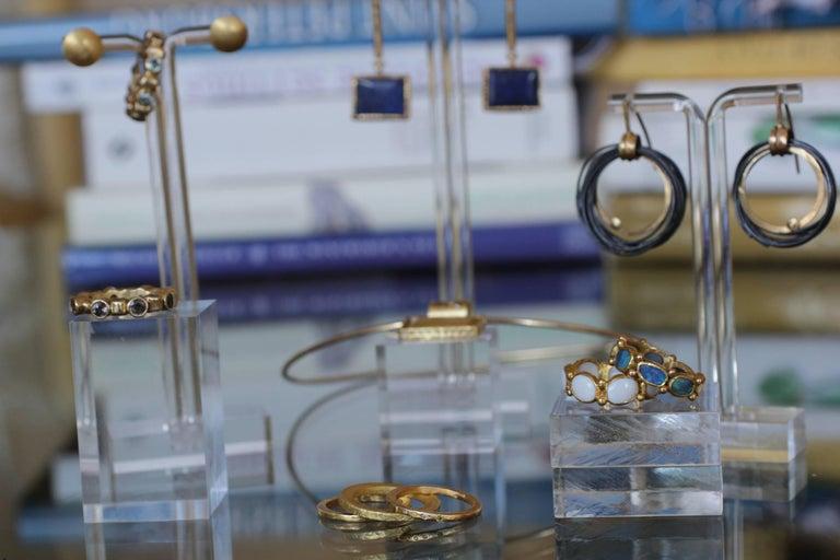 White Opal 22 Karat-21 Karat Gold Bezel Band Fashion Ring One-Of-A-Kind  For Sale 11