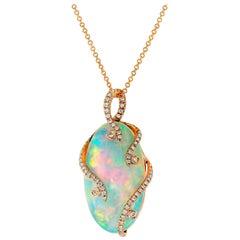 White Opal and Diamond Pendant