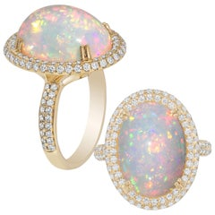 Goshwara White Opal Cabochon And Diamond Ring