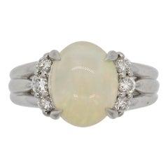 White Opal Diamond Platinum Ring