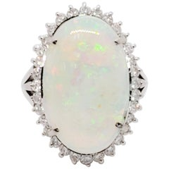 White Opal Oval and White Diamond Cocktail Ring in Platinum