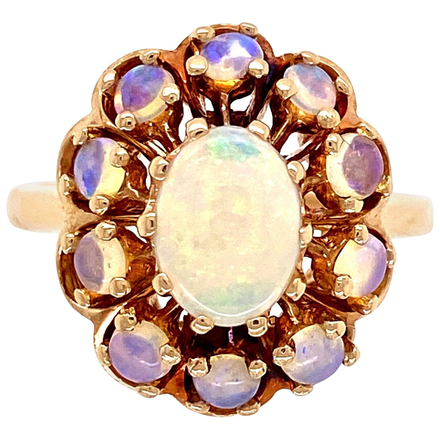 White Opal Victorian Style Cocktail Cluster Gold Ring Estate Fine Jewelry