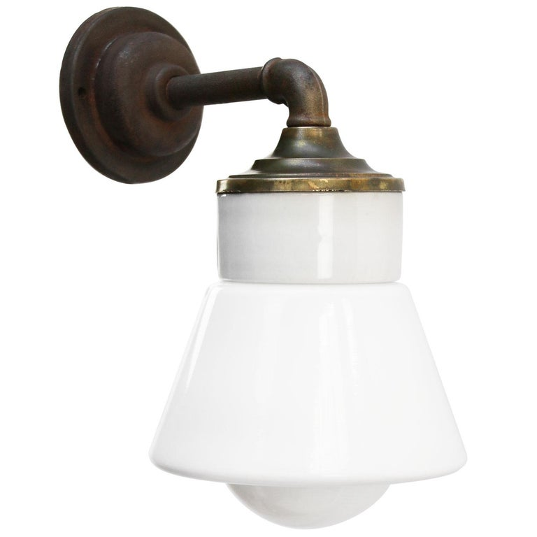 Industrial White Opaline Glass Brass Vintage Cast Iron Arm Scones Wall Lights For Sale