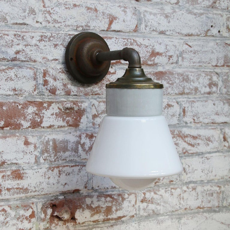 White Opaline Glass Brass Vintage Cast Iron Arm Scones Wall Lights In Good Condition For Sale In Amsterdam, NL