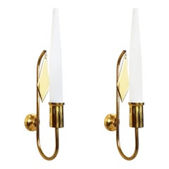 White Opaline Glass Shade and Brass 1950s Sconces in the Style of Arredoluce