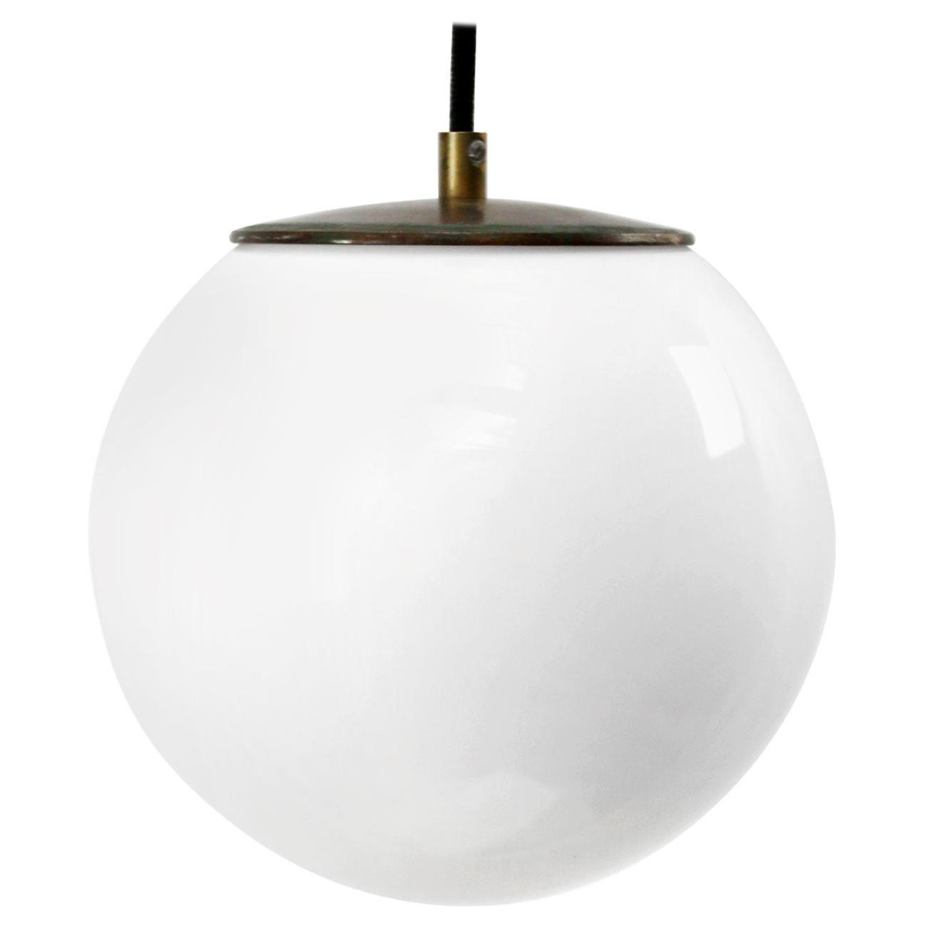White Opaline Glass Vintage European Brass Top Pendant Lights