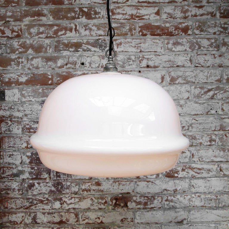 White Opaline Glass Vintage Industrial Bauhaus Pendant Lights In Good Condition For Sale In Amsterdam, NL