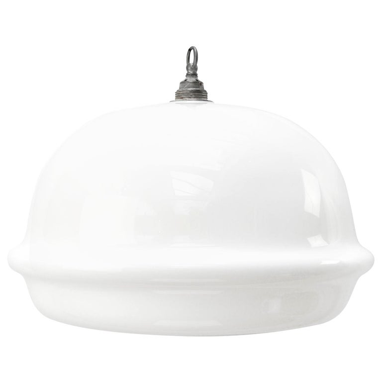 White Opaline Glass Vintage Industrial Bauhaus Pendant Lights For Sale