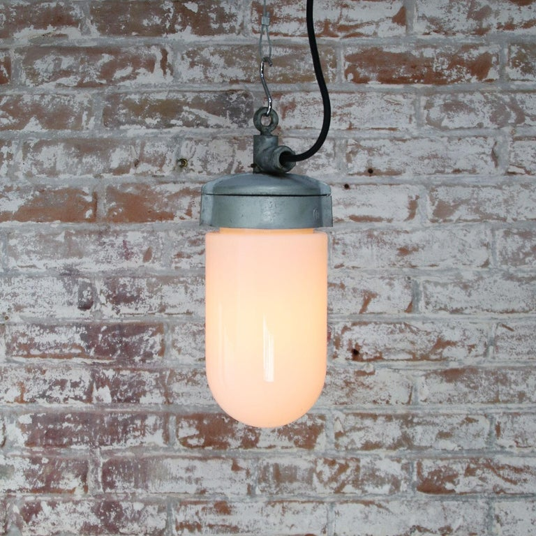 White Opaline Glass Vintage Industrial Metal Pendant Lights In Good Condition For Sale In Amsterdam, NL