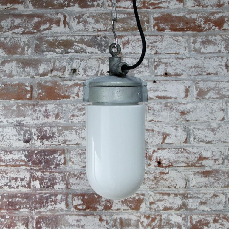 20th Century White Opaline Glass Vintage Industrial Metal Pendant Lights For Sale