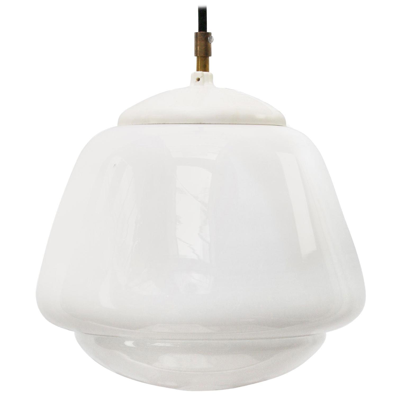 White Opaline Glass Vintage Industrial Metal Top Pendant Lights