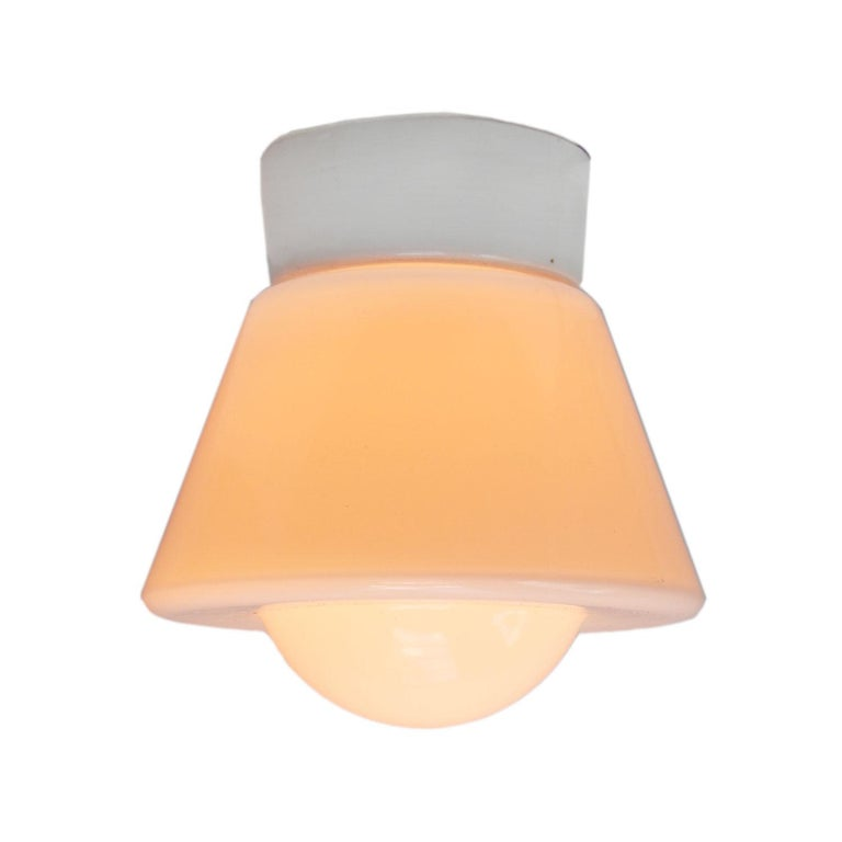 Industrial ceiling lamp. White porcelain, white opaline glass.  2 conductors, no ground. Measures: Diameter foot 10 cm Suitable for 110 volt USA new wiring is CE certified (220 volt) or UL Listed (110 volt)   Weight: 1.1 kg / 2.4