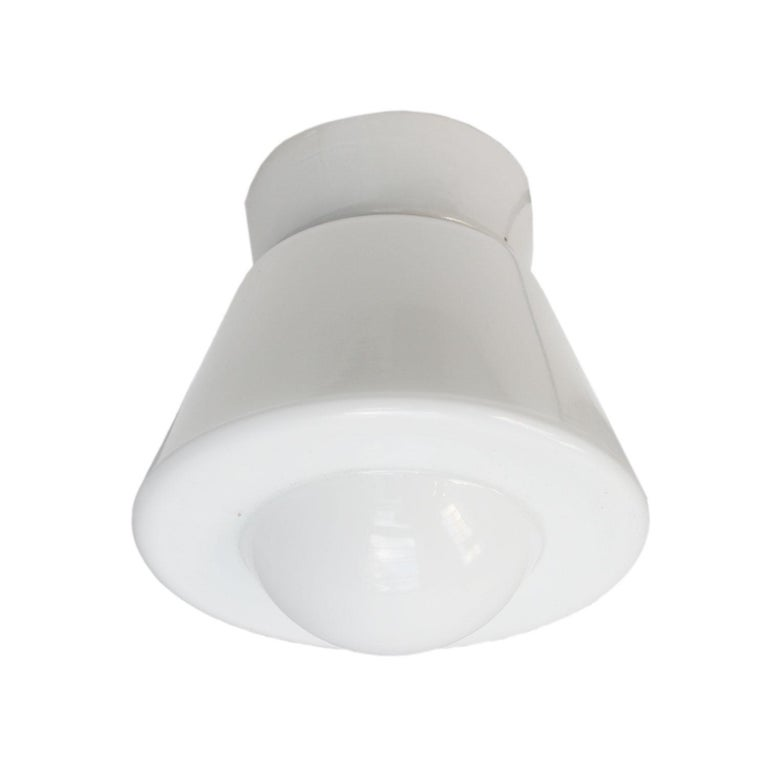 German White Opaline Glass Vintage Industrial Porcelain Ceiling Flush Mount Lamps For Sale