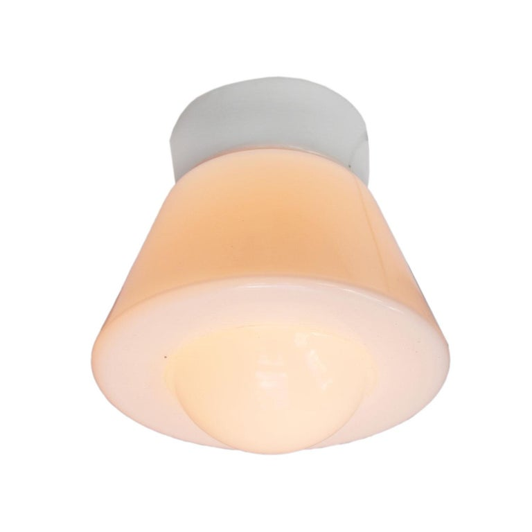 White Opaline Glass Vintage Industrial Porcelain Ceiling Flush Mount Lamps In Good Condition For Sale In Amsterdam, NL