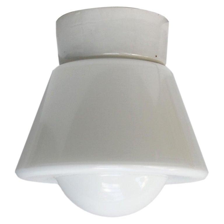 White Opaline Glass Vintage Industrial Porcelain Ceiling Flush Mount Lamps For Sale