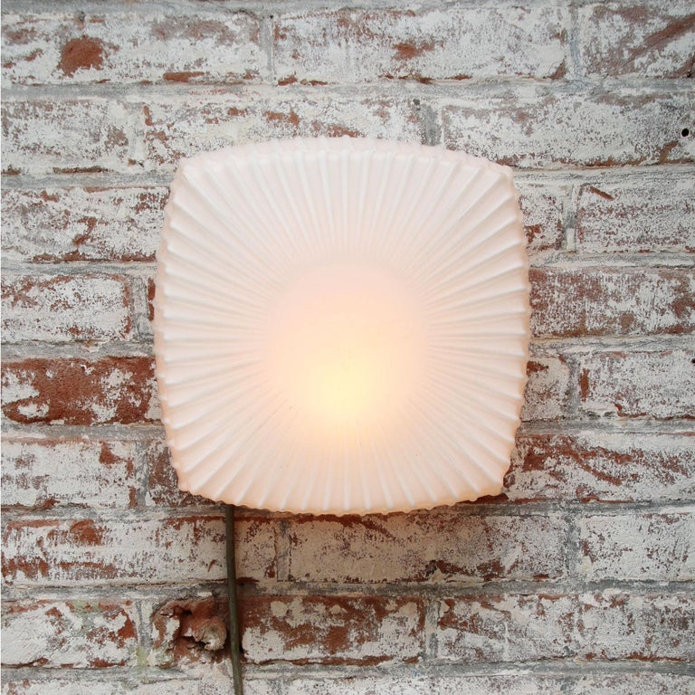 Industrial ceiling / wall lamp. Aluminum base with white opaline glass.  Weight: 2.00 kg / 4.4 lb  Priced per individual item. All lamps have been made suitable by international standards for incandescent light bulbs, energy-efficient and LED