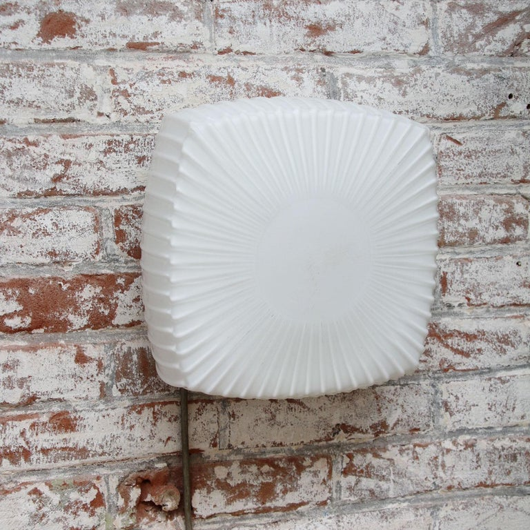 White Opaline Glass Vintage Industrial Scones Wall Lamps In Good Condition For Sale In Amsterdam, NL
