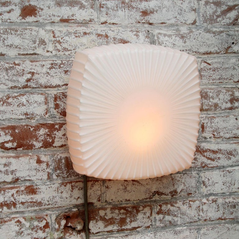 20th Century White Opaline Glass Vintage Industrial Scones Wall Lamps For Sale
