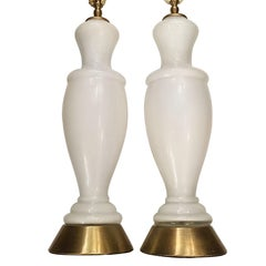 White Opaline Lamps with Floral Decoration