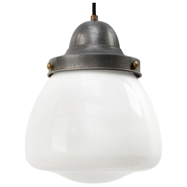 White Opaline Milk Glass Vintage European Pendant Lights