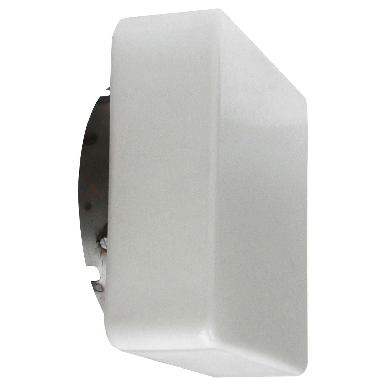 White Opaline Milk Glass Vintage Industrial Wall Lamps Scones