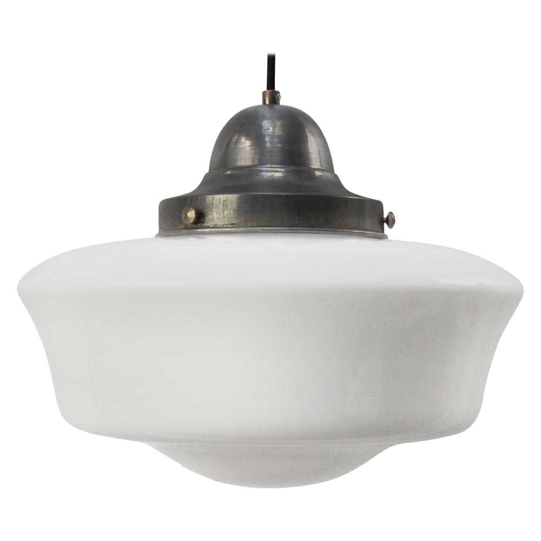 White Opaline Milk Glass Vintage Metal Top Pendant Lights