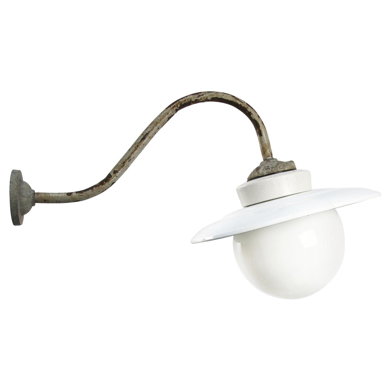 White Opaline Porcelain Enamel Vintage Industrial Cast Iron Wall Lights