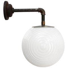 White Opaline Vintage Industrial Cast Iron Scones Wall Lights