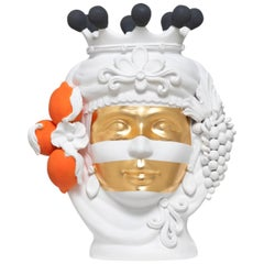 White, Orange and Gold Sicilian Terracotta Vase Designed by Stefania Boemi