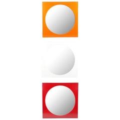 Weißer, Oranger & Roter Methacrylate Quadratischer Spiegel 4724/5 von G. Stoppino für Kartell