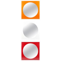 White, Orange & Red Methacrylate Square Mirror 4724/5 by G. Stoppino for Kartell