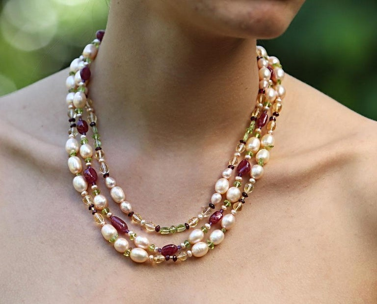 d773750d1d841 White Orchid Studio Beaded Necklace Pearls Rubies Citrine Peridot Amethyst  Gold