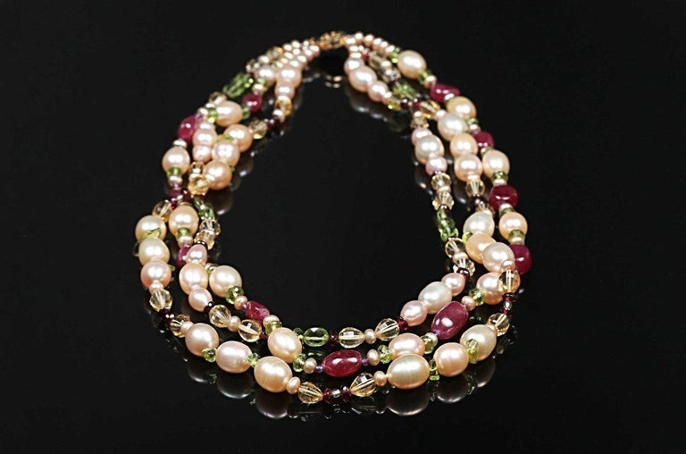 Contemporary Dreaming of Tartans: Three-Strand Matinee Necklace-Pearls Rubies Garnet Citrine  For Sale