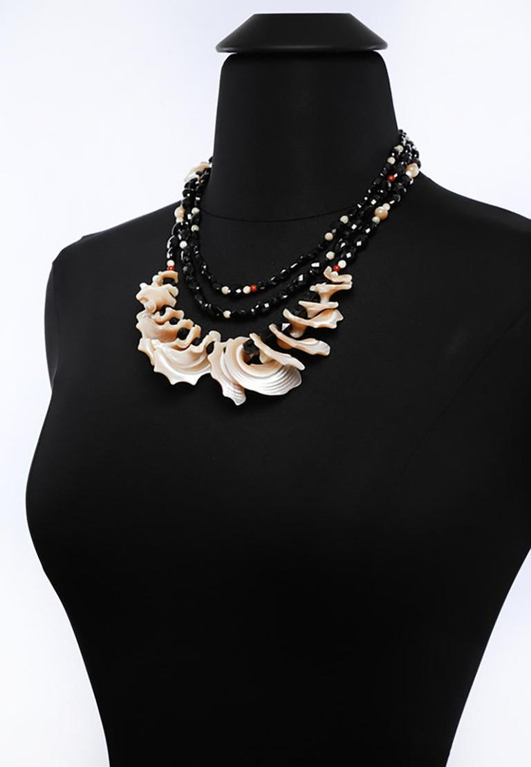 White Orchid Studio Bib Necklace Black Spinel Mother of Pearl Red Jasper Silver For Sale 3