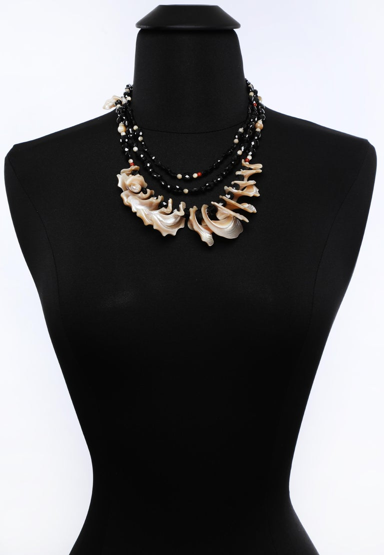 White Orchid Studio Bib Necklace Black Spinel Mother of Pearl Red Jasper Silver For Sale 4