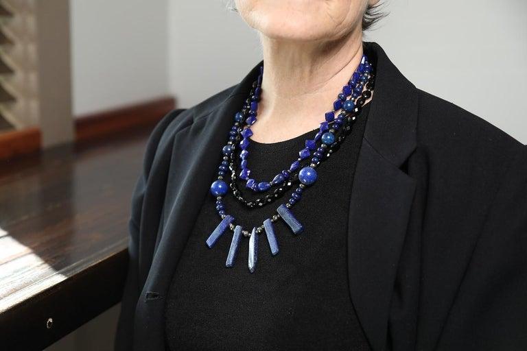Women's or Men's Ancient Magic: Bib Necklace-Lapis Lazuli Black Spinel Silver For Sale