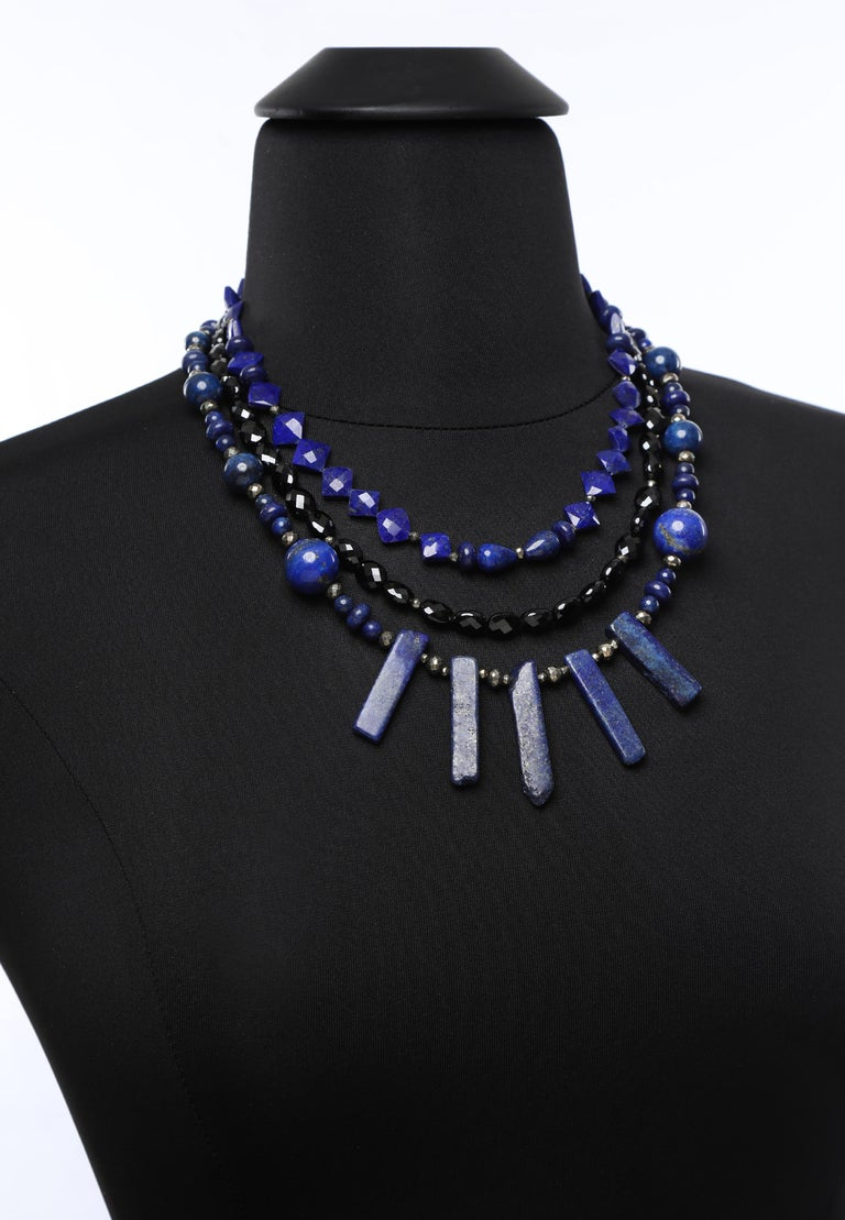 White Orchid Studio Bib Necklace Lapis Lazuli, Black Spinel, and Silver For Sale 1