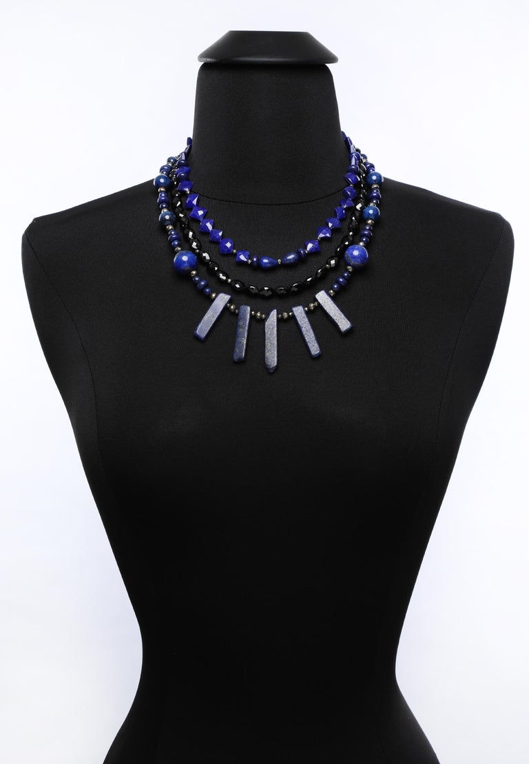 White Orchid Studio Bib Necklace Lapis Lazuli, Black Spinel, and Silver For Sale 3