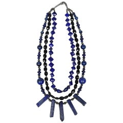 White Orchid Studio Bib Necklace Lapis Lazuli Black Spinel Silver