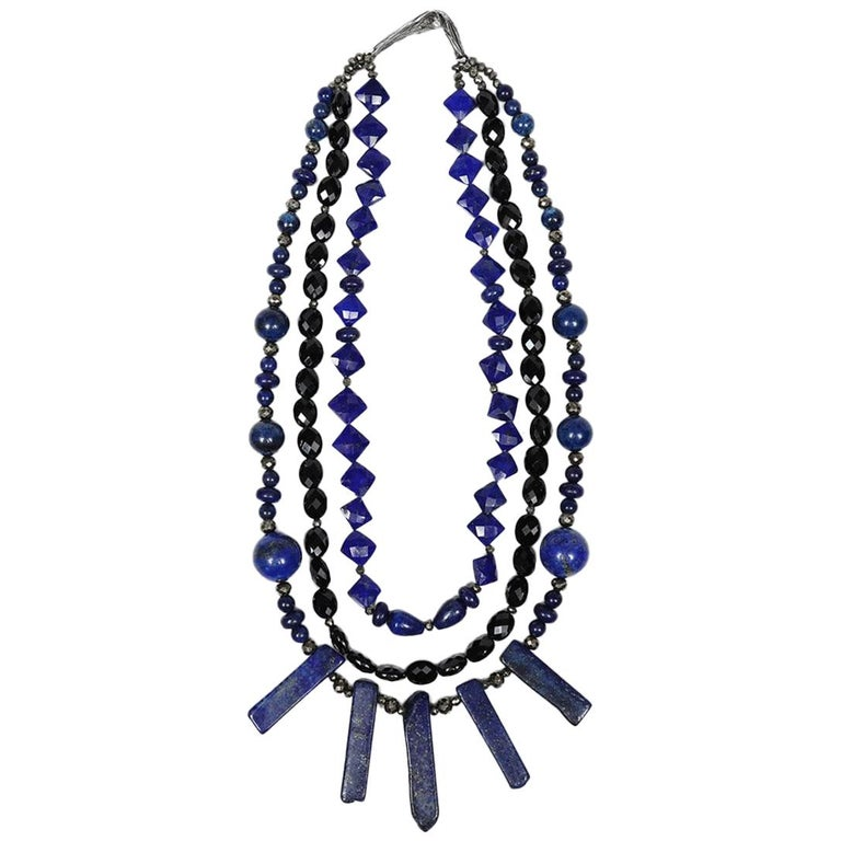 White Orchid Studio Bib Necklace Lapis Lazuli, Black Spinel, and Silver For Sale