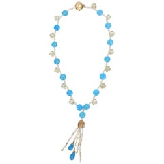 White Orchid Studio Blue Poppy 2 Blue Chalcedony Topaz Pearl Gold Necklace
