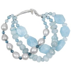 White Orchid Studio Bracelet Aqua London Blue Topaz Pearls Silver