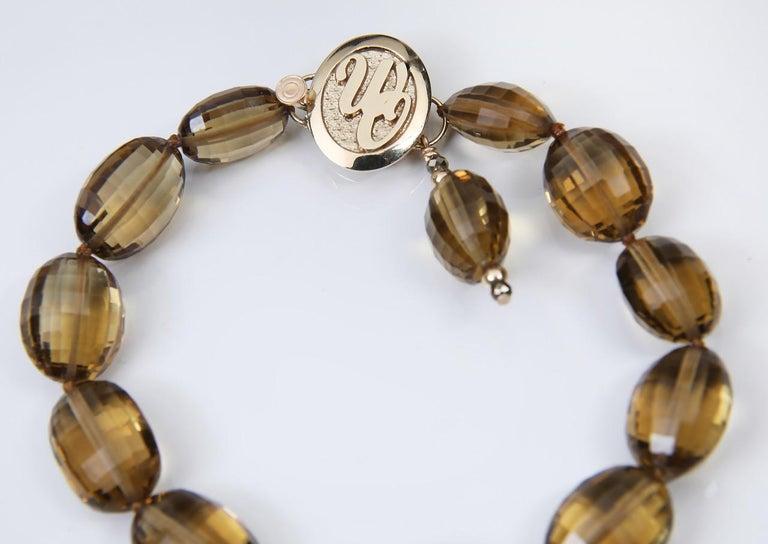 Contemporary White Orchid Studio Bracelet Golden Quartz Yellow Gold For Sale