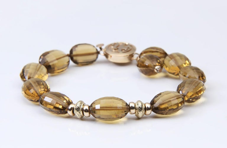 White Orchid Studio Bracelet Golden Quartz Yellow Gold In New Condition For Sale In Athens, GA