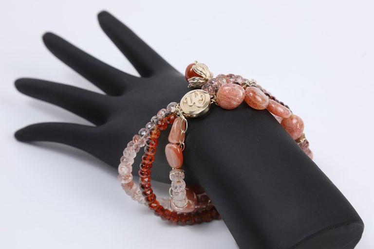 White Orchid Studio Bracelet Mandarin Garnet, Strawberry Quartz, Sunstone, Gold For Sale 1